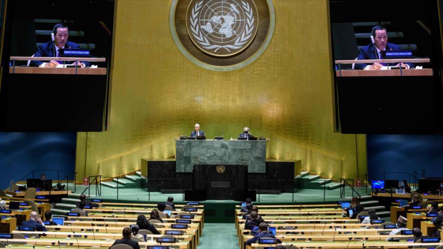 El representante norcoreano Kim Song ofrece un discurso en la Asamblea General de las la ONU en Nueva York, 29 de septiembre de 2020. (Foto: AFP)