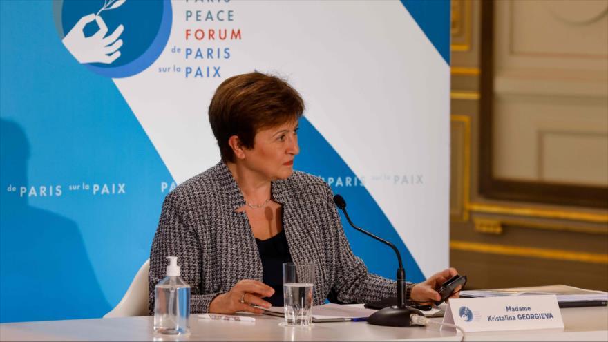 La directora general del FMI, Kristalina Georgieva, en un acto en el Palacio del Elíseo en París, Francia, 12 de noviembre de 2020. (Foto: AFP)