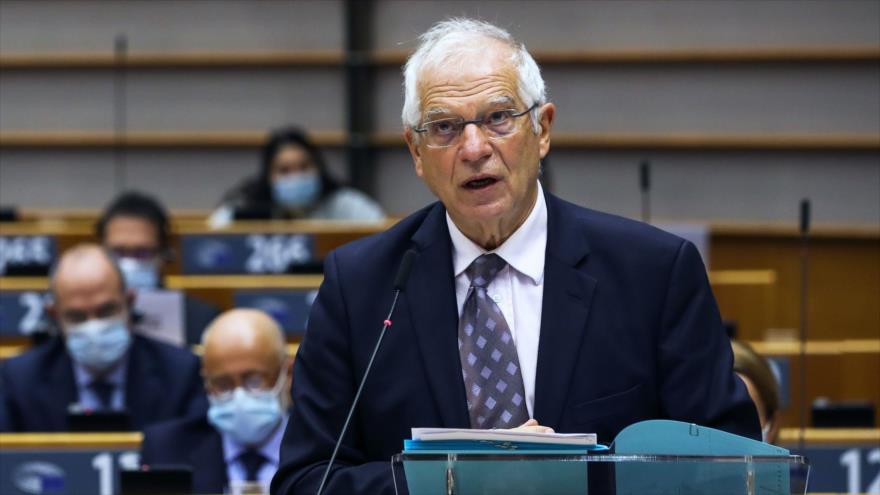 El jefe de la Diplomacia de la Unión Europea (UE), Josep Borrell, ofrece un discurso en Bruselas, 11 de noviembre de 2020. (Foto: AFP)