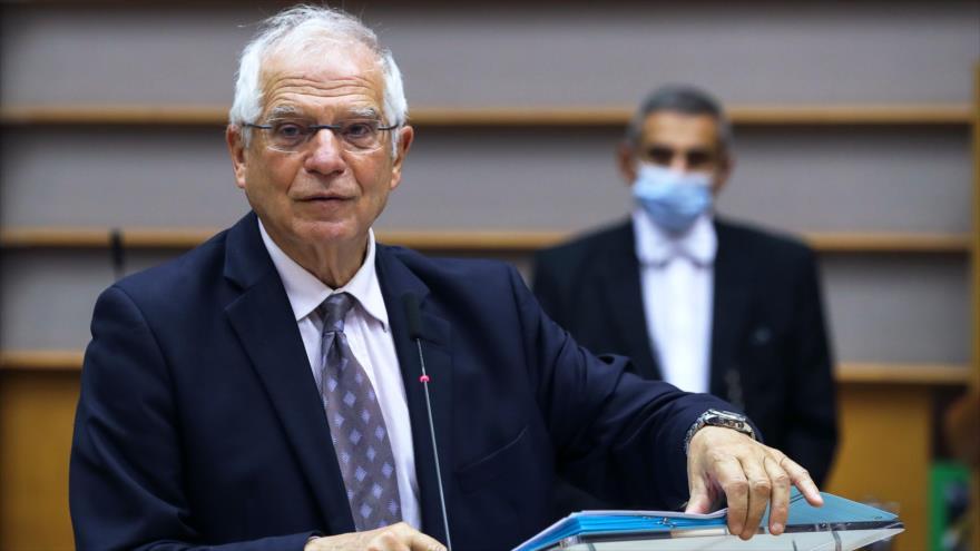 Alto representante de la UE para la Política Exterior, Josep Borrell, habla sobre las relaciones con EE.UU. en Bruselas, 11 de noviembre de 2020. (Foto: AFP)