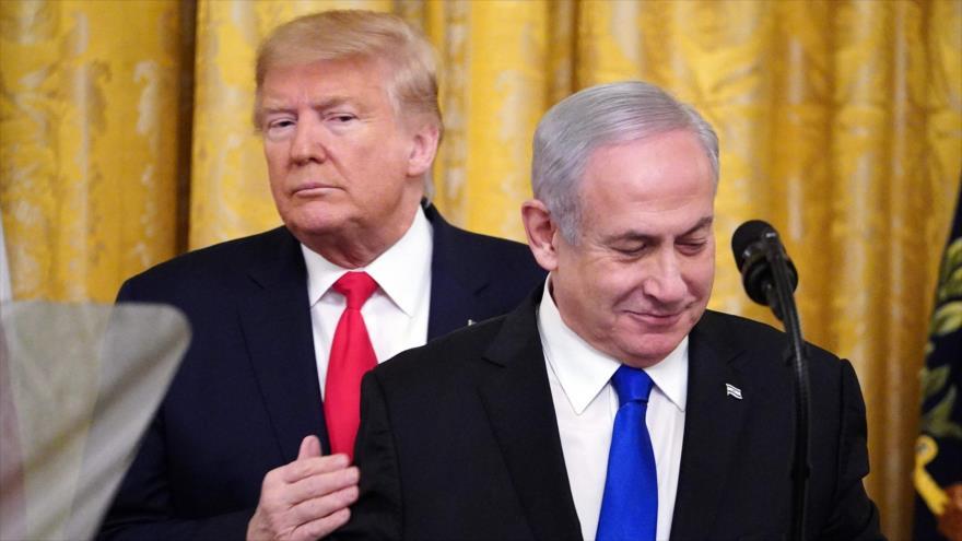El presidente de EE.UU., Donald Trump (izq.), el primer ministro israelí, Benjamín Netanyahu, en la Casa Blanca, Washington, 28 de enero de 2020. (Foto: AFP)