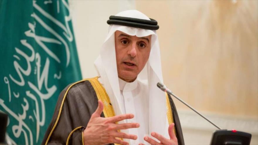 El ministro de Estado de Asuntos Exteriores de Arabia Saudí, Adel al-Yubeir, en una rueda de prensa en Riad.