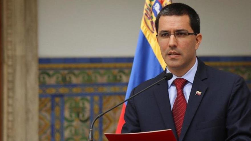 El canciller venezolano, Jorge Arreaza, en una rueda de prensa en Caracas.