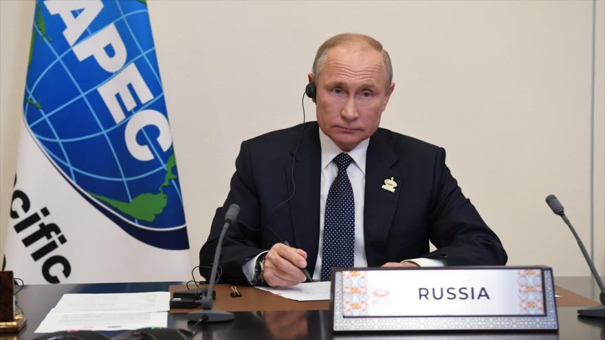 El presidente ruso, Vladimir Putin, en la conferencia de APEC, 20 de noviembre de 2020.