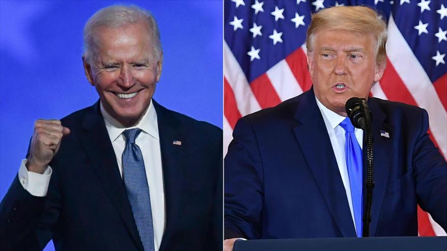 El presidente electo de EE.UU., Joe Biden (izda.) y el mandatario saliente, Donald Trump.