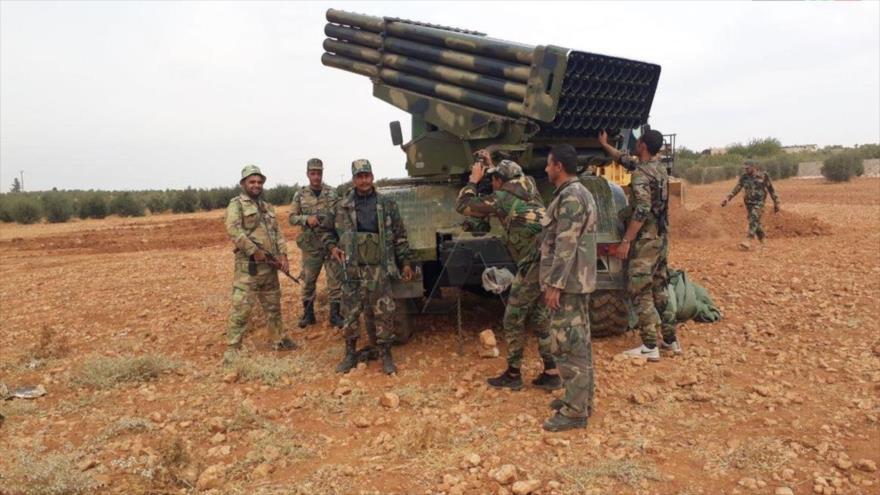 Una batería de artillería del Ejército de Siria, instalada en Manbiy, en la provincia noroccidental de Alepo. (Foto: SANA)