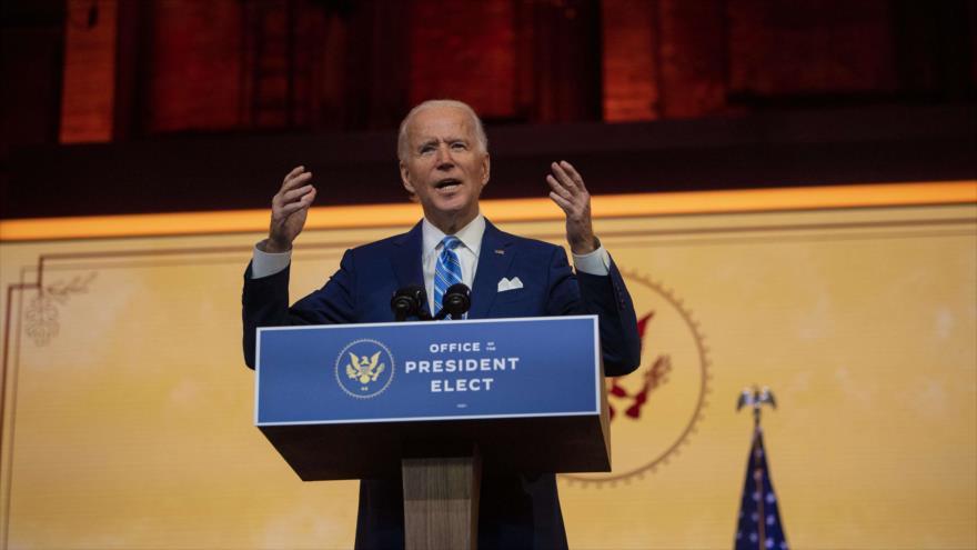 El presidente electo de EE.UU., Joe Biden, ofrece un discurso en un teatro de Wilmington, Delaware, 25 de noviembre de 2020. (Foto: AFP)