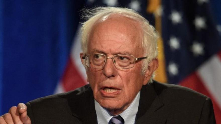 El senador demócrata estadounidense Bernie Sanders, habla en la Universidad George Washington, 24 de septiembre de 2020. (Foto: AFP)
