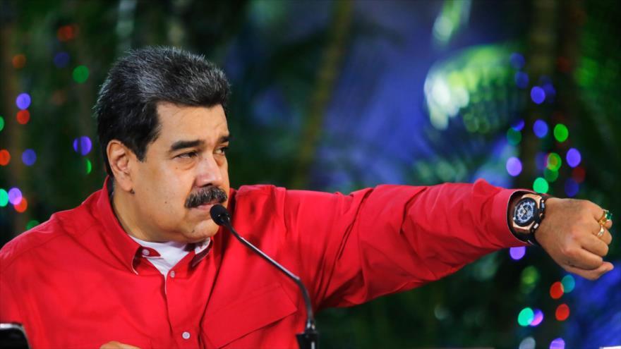 El presidente de Venezuela, Nicolás Maduro, en una sesión informativa, en Caracas, 29 de noviembre de 2020.