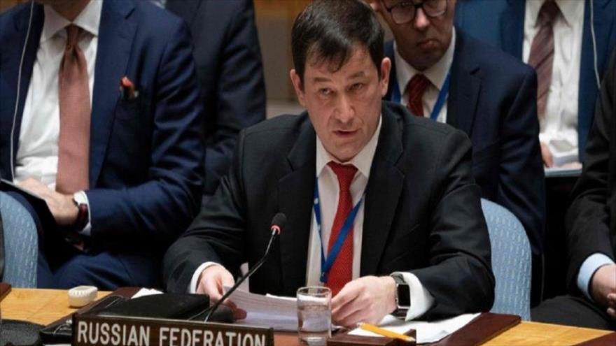 El embajador adjunto ruso ante la Organización de las Naciones Unidas (ONU), Dmitri Polianski, en una sesión del organismo.