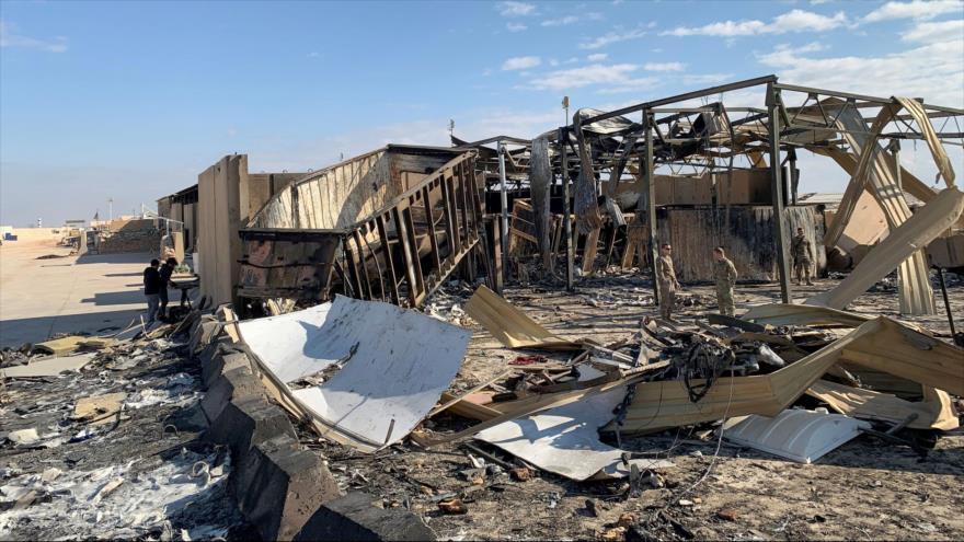 Daños causados por ataque de Irán contra una base de EE.UU. en Al-Anbar, Irak, 13 de enero de 2020. (Foto: AFP)