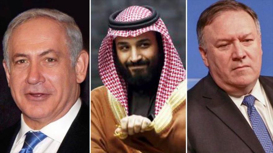 El premier israelí, Benjamín Netanyahu (izda.), el príncipe heredero saudí, Muhamad Bin Salman (c) y el secretario de Estado de EE.UU., Mike Pompeo.