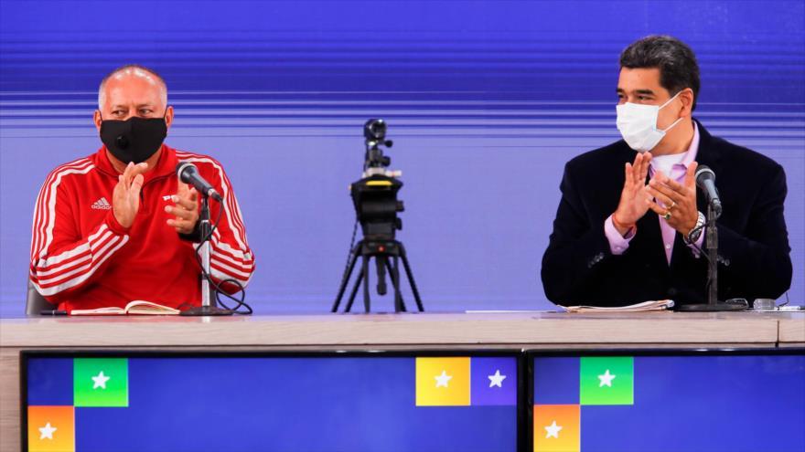El presidente de Venezuela, Nicolás Maduro (dcha.), y el presidente de la Asamblea Constituyente, Diosdado Cabello, 8 de septiembre de 2020. (Foto: AFP)