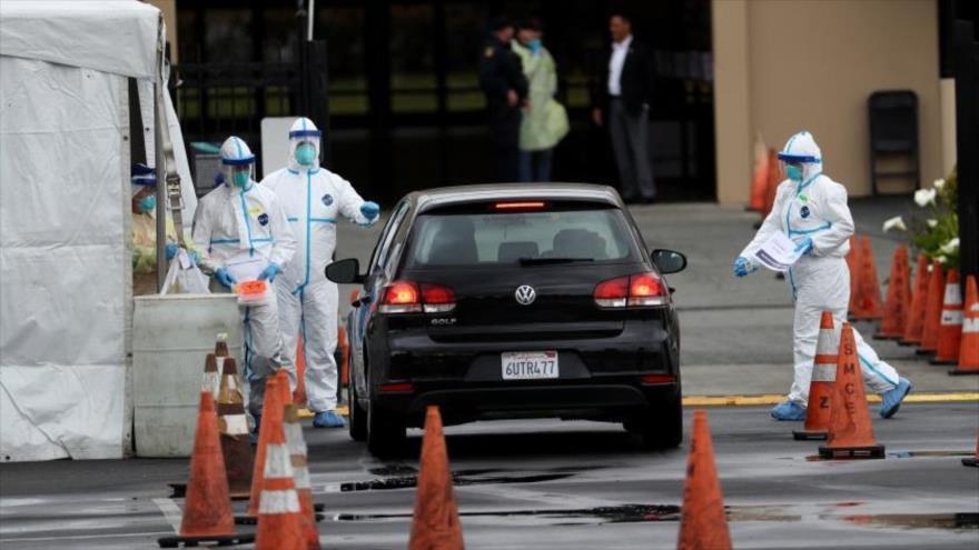 Un puesto de prueba de coronavirus en el Centro de Convenciones del condado de San Mateo, California, 16 de marzo de 2020. (Foto: Getty Images)