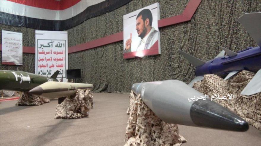 Misiles de fabricación yemení, presentados en una exhibición en Saná, capital de Yemen, 7 de julio de 2019.