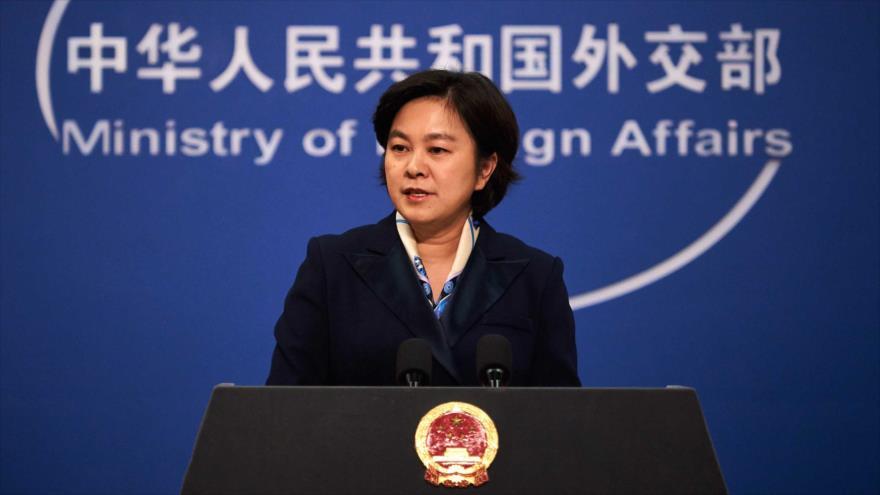 La portavoz de la Cancillería china, Hua Chunying, habla en una conferencia de prensa, Pekín. (Foto: Getty Images)
