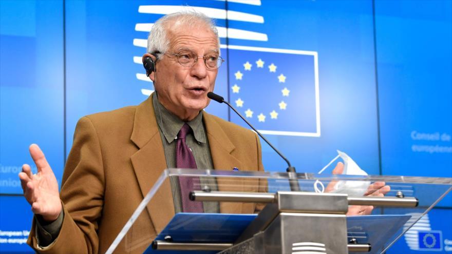 El jefe de la Diplomacia de la Unión Europea (UE), Josep Borrell, habla durante una conferencia de prensa en Bruselas, 7 de diciembre de 2020. (Foto: AFP)