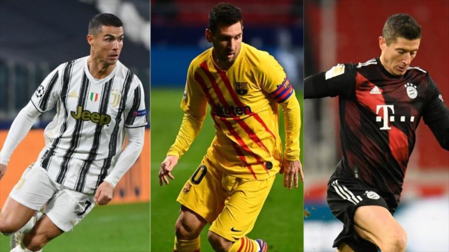 (De izq. a dcha.) el portugués Cristiano Ronaldo (Juventus), el argentino Leo Messi (Barcelona) y el polaco Robert Lewandowski (Bayern Múnich).