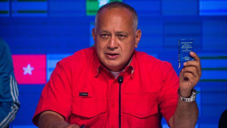 El dirigente chavista Diosdado Cabello, en un acto público celebrado en Caracas en capital, 7 de diciembre de 2020. (Foto: AFP)