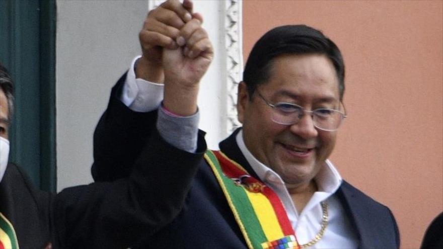 El presidente de Bolivia, Luis Arce, durante una ceremonia en La Paz, la capital, 8 de noviembre de 2020. (Foto: AFP)
