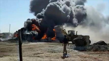 Drones bombardean zona de contrabando de petróleo sirio