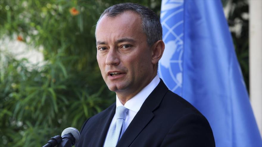 Coordinador Especial de las Naciones Unidas, Nickolay Mladenov, en una conferencia de prensa en la ciudad de Gaza, 25 de septiembre de 2017.