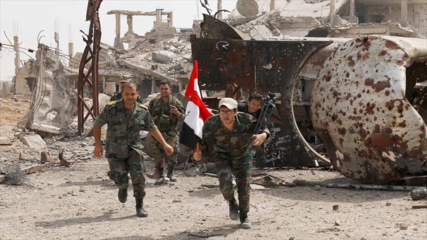 Soldados del Ejército sirio en Damasco, capital, 29 de abril de 2018. (Foto: Reuters)