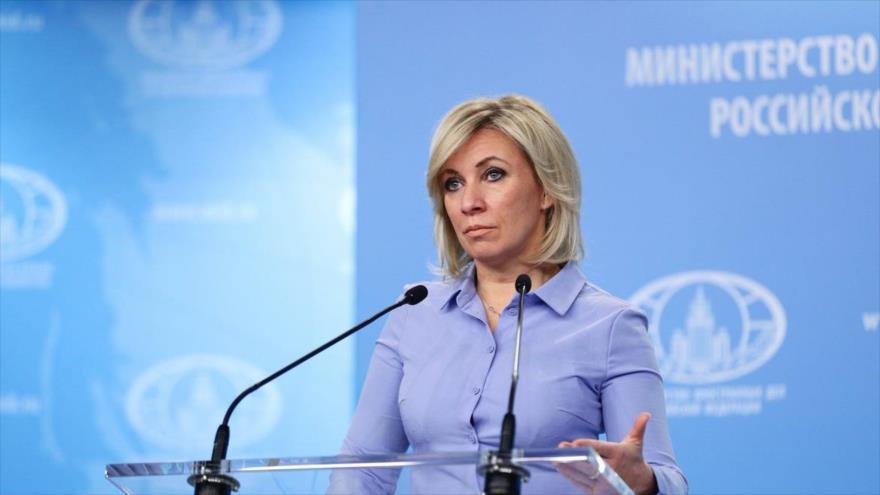 La portavoz de la Cancillería rusa María Zajárova en una rueda de prensa en Moscú (la capital rusa), 27 de noviembre de 2020. (Foto: Tass)