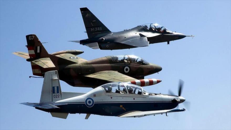 Los aviones de Grecia durante un ejercicio.