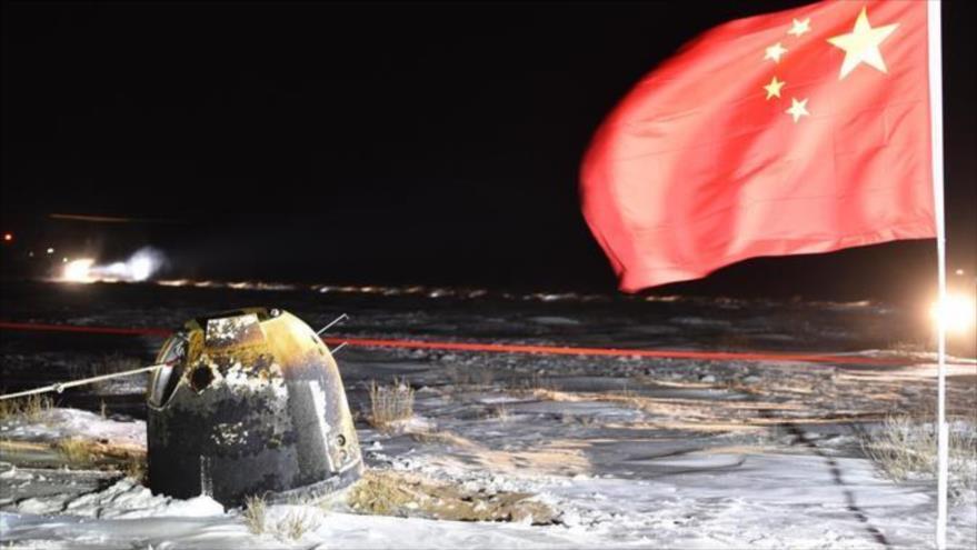 Sonda china regresó a la Tierra con materiales lunares y las semillas de arroz