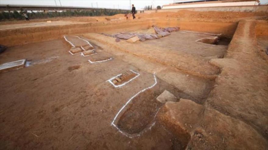 Sitio donde hallaron la tumba de un emperador chino en la provincia de Henan.