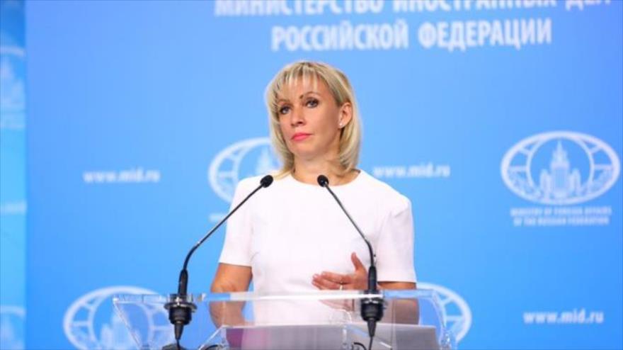 La portavoz de la Cancillería de Rusia, María Zajárova, ofrece una rueda de prensa en la sede del Ministerio en Moscú, capital rusa.