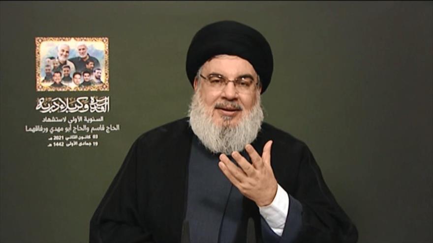 El líder del Movimiento de Resistencia Islámica de El Líbano (Hezbolá), Seyed Hasan Nasralá, ofrece un discurso desde Beirut, 3 de enero de 2021.