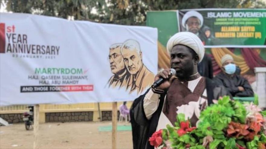 Rememoran el primer aniversario del asesinato del general Qasem Soleimani, comandante de Fuerza Quds del CGRI de Irán, Kano, Nigeria, 3 de enero de 2021.