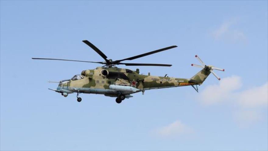 Un helicóptero Mi-24 ruso.