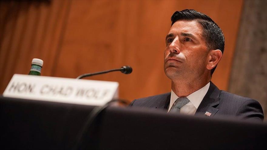 El secretario interino de Seguridad Nacional de EE.UU., Chad Wolf, en una audiencia del Senado en Washington DC., 23 de septiembre de 2020 (Foto: AFP)