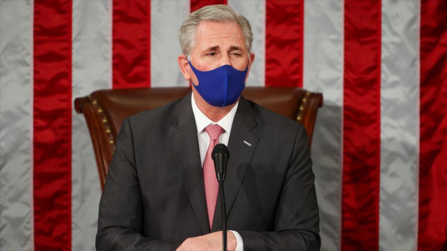 El líder de la minoría republicana en la Cámara de Representantes de EE.UU., Kevin McCarthy, en una sesión, 3 de enero de 2021.