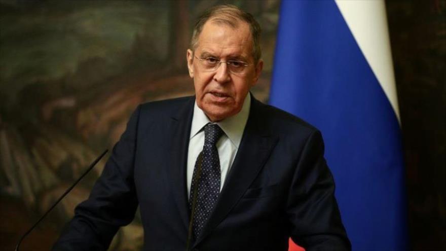 El canciller de Rusia, Serguéi Lavrov, durante una rueda de prensa en Moscú (capital), 7 de diciembre de 2020. (Reuters)