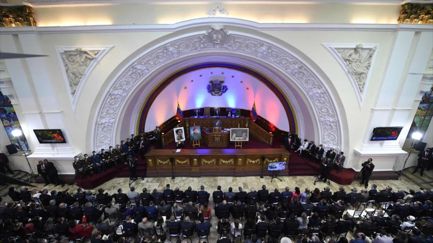 Vista general del Parlamento en la capital Caracas, mientras el presidente, Nicolás Maduro, lee su informe anual, 12 de enero de 2021. (Foto: AFP)