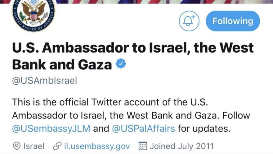 La cuenta de Twitter de la embajada de EE.UU. en Israel.