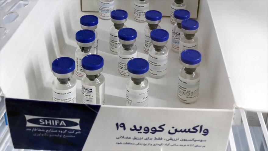 Frascos de la vacuna iraní contra COVID-19 se ven durante las pruebas en humanos en Teherán, capital persa, Irán. (Foto: Reuters)