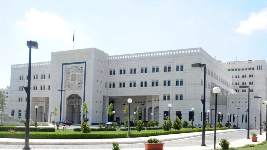 El edificio del Ministerio de Relaciones Exteriores y Expatriados de Siria en Damasco, capital.