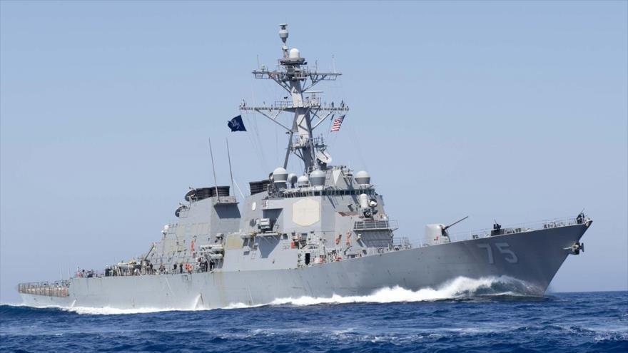 El buque destructor de misiles guiados USS Donald Cook, clase Arleigh Burke, de la Armada de Estados Unidos.