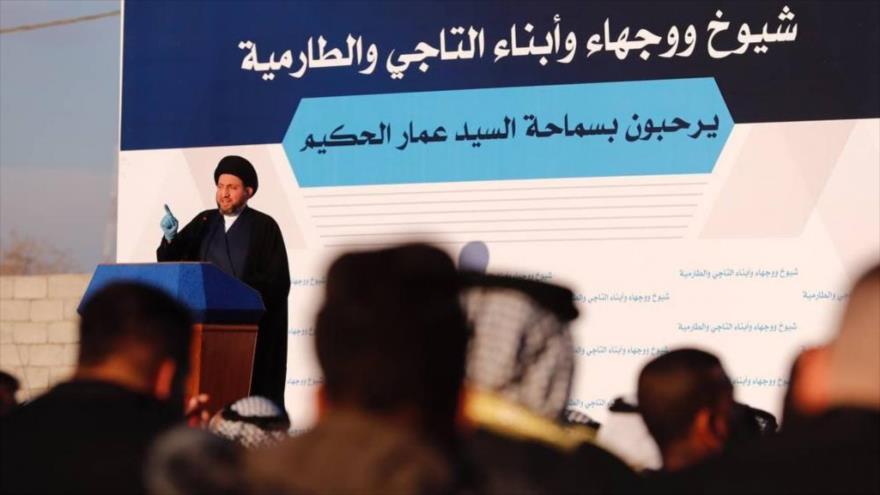 Amar al-Hakim, líder del Movimiento de Sabiduría Nacional de Irak, en una reunión en Bagdad, la capital, 23 de enero de 2021. (Foto: Alforat News)