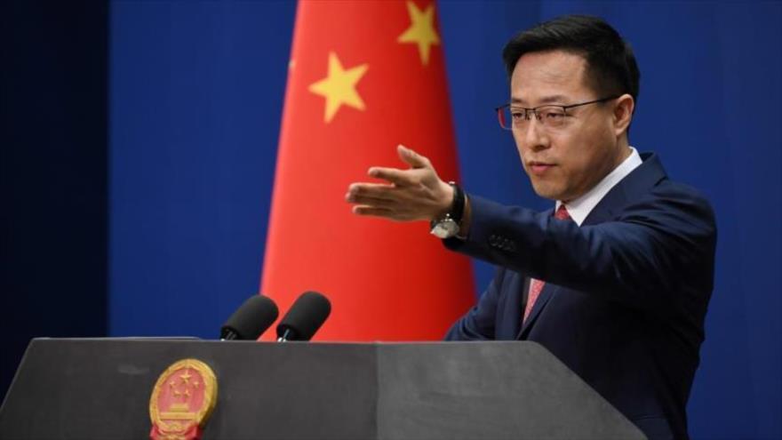 Zhao Lijian, portavoz del Ministerio de Asuntos Exteriores de China, durante una rueda de prensa en Pekín, la capital.