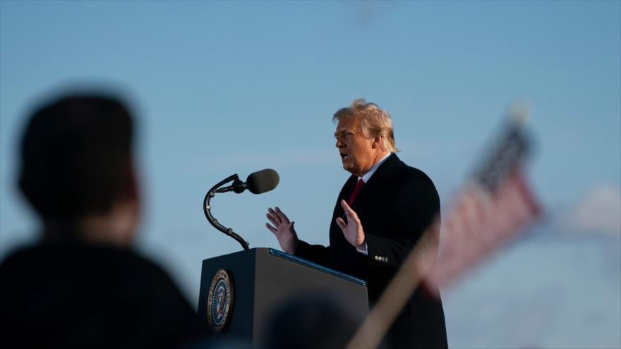 El expresidente de EE.UU. Donald Trump habla en un acto en Maryland, 20 de enero de 2021. (Foto: AFP)