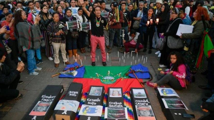 Manifestaciones en Colombia contra el genocidio.