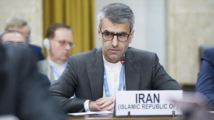 El representante permanente de Irán ante la Oficina de las Naciones Unidas en Ginebra (Suiza), Esmail Baqai, en una sesión plenaria del ente.