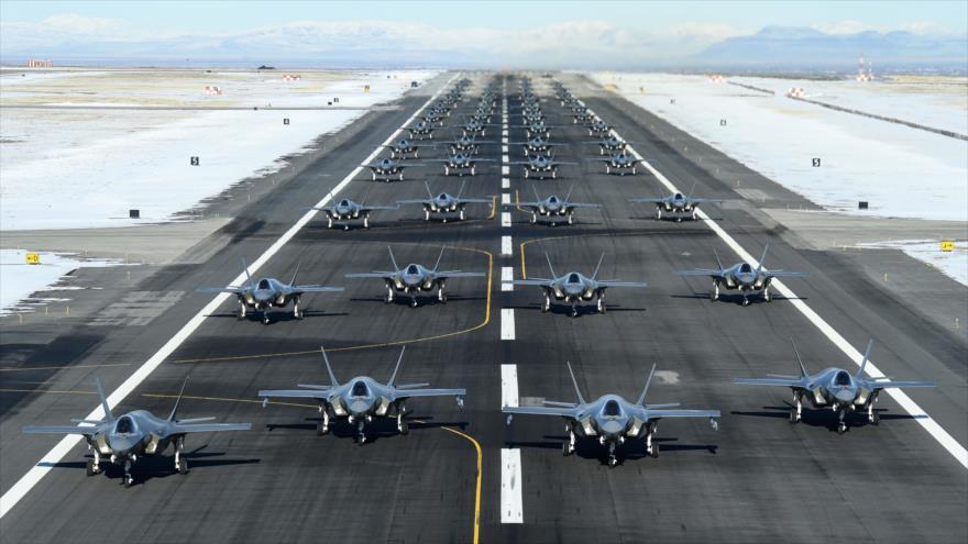 Aviones de combate F-35A de la Fuerza Aérea de EE.UU. durante un ejercicio en la base de Hill, en el estado occidental de Utah, 6 de enero de 2020.