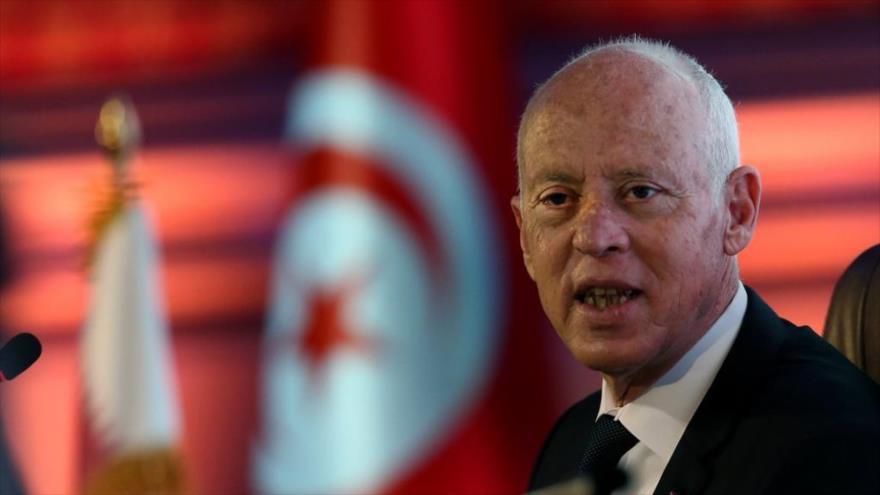 El presidente de Túnez, Kais Said, da un discurso en una universidad en Catar, el 16 de noviembre de 2020, (Fuente: AFP)